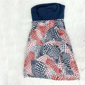 Anthropologie Odille Blue Tube Dress Strapless 2